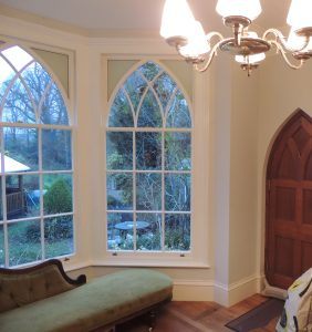 Gothic sash windows with arched glazing bars