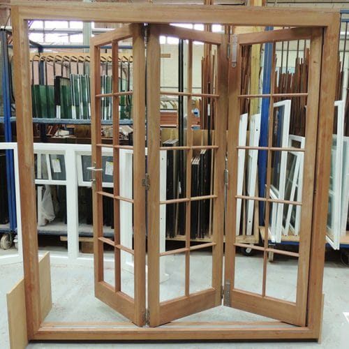 Bifold doors with glazing bars in factory