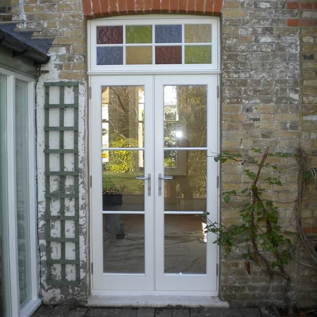 French Doors With Stained Glass Timbawood