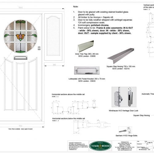CAD drawing - timber front door with stained glass