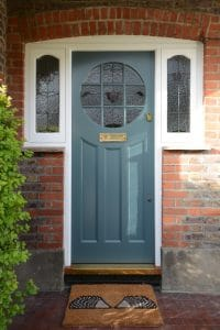 Edwardian front door with stained glass side panels