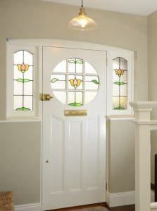 Edwardian front door interior with stained glass