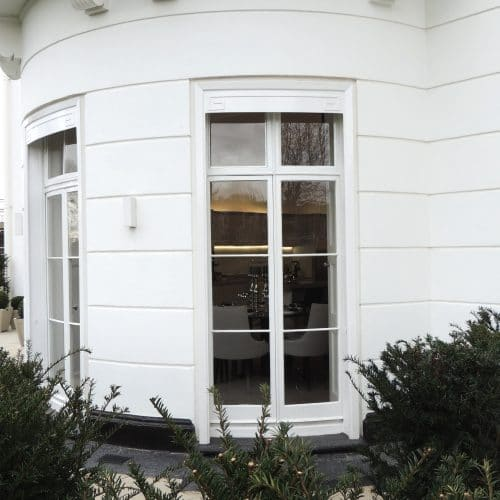 Bow fronted French doors