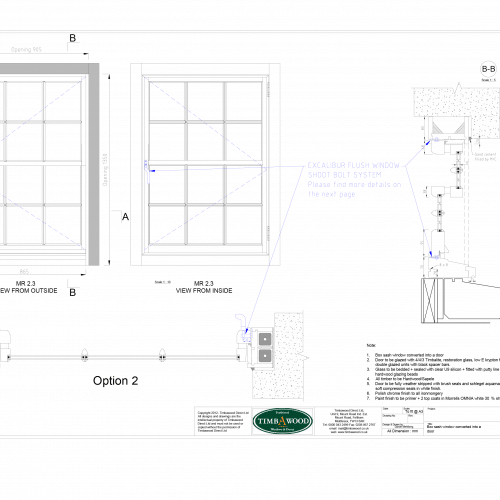 Sash window as casement window CAD drawing