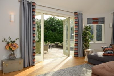 Timber bifold doors with glazing bars