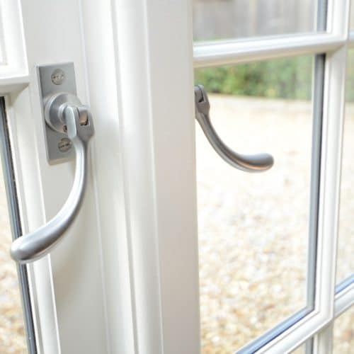 Casement window with bulb end fastener