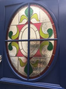 Edwardian front door with coloured film