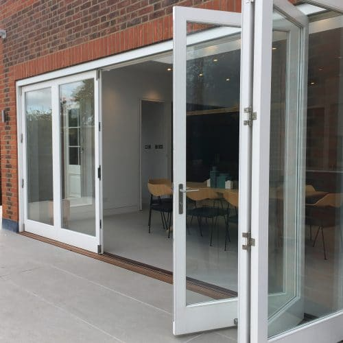 Fully glazed timber bifolding doors