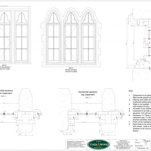 Listed windows CAD drawing