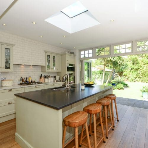 Timber bifold doors with top lights - interior