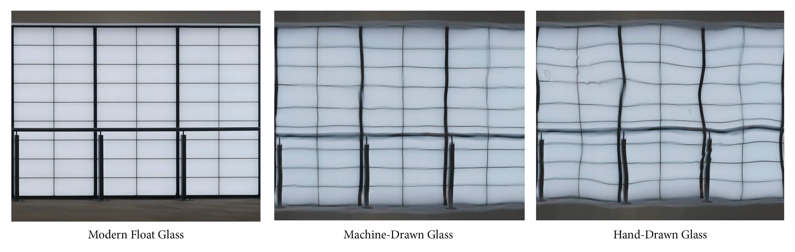 Glazing options - float glass, machine-drawn and hand-drawn glass