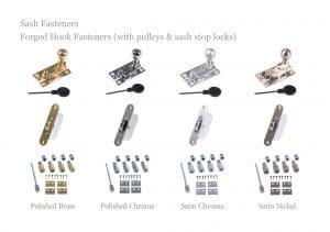 Sash hook fasteners