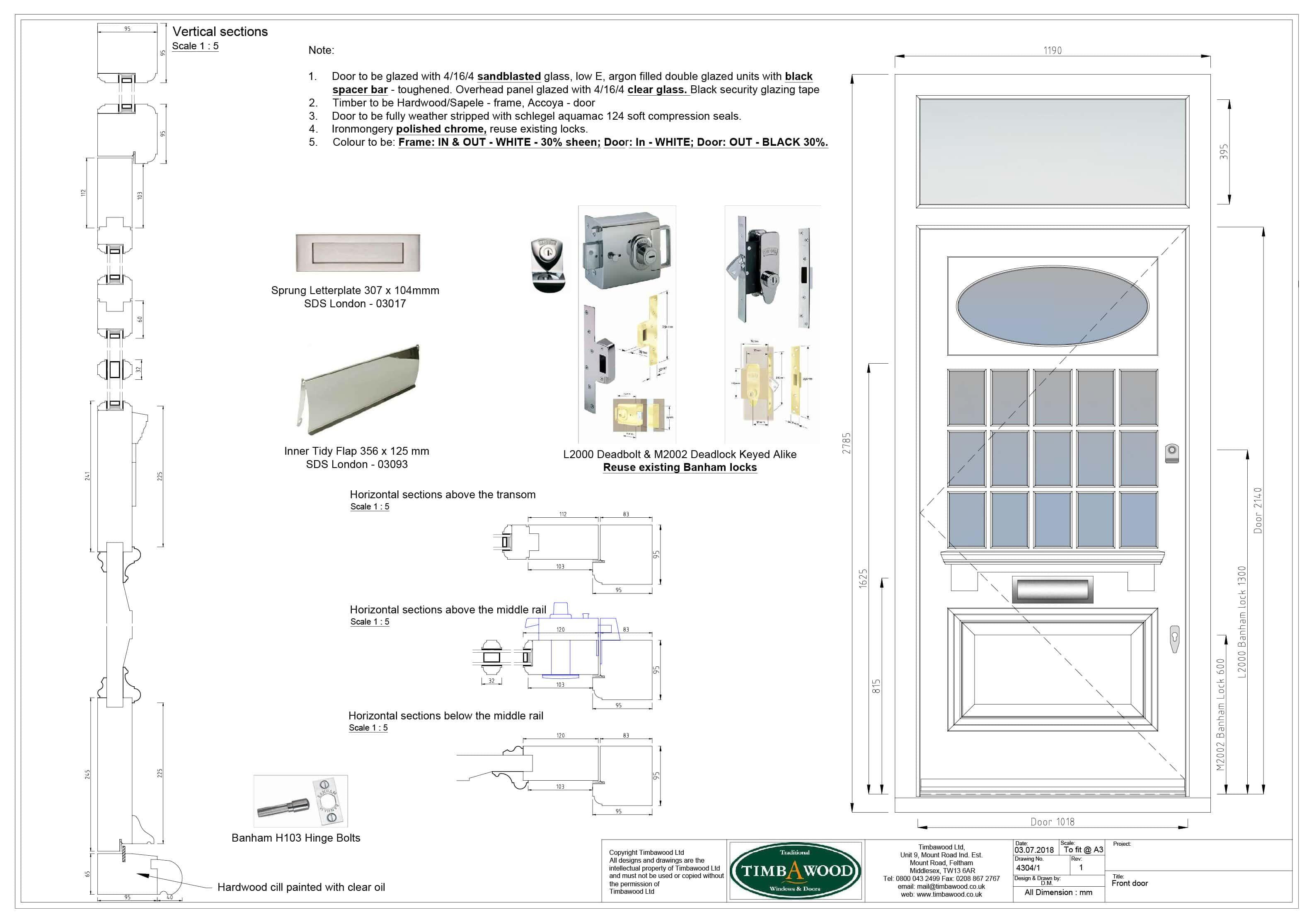 Edwardian Front door CAD drawing