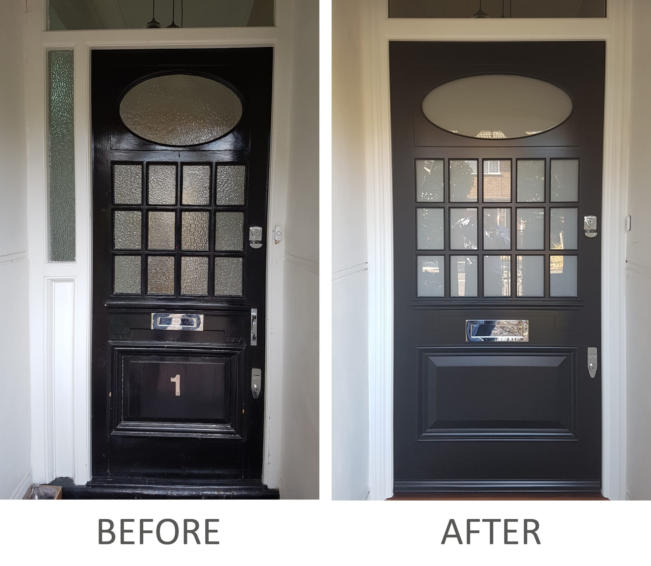 Edwardian front door before & after renovation