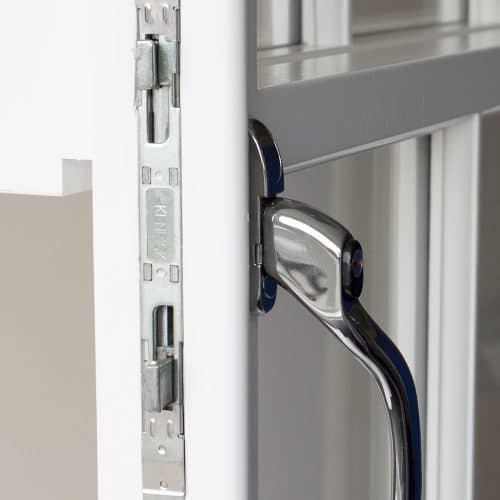Close up sash window as casement window lock