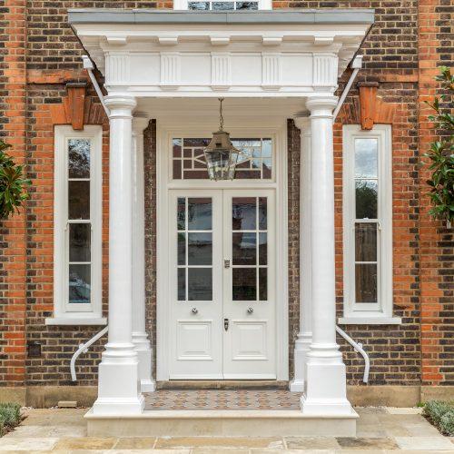 Bespoke timber sash windows and front door