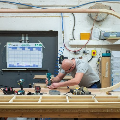 Timber frame of french doors being made