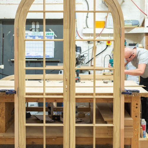 Timber french doors being made in our factory