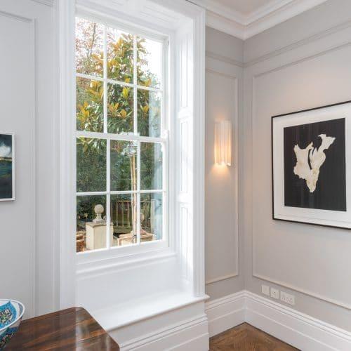 Traditional '6 over 6' sash windows with glazing bars