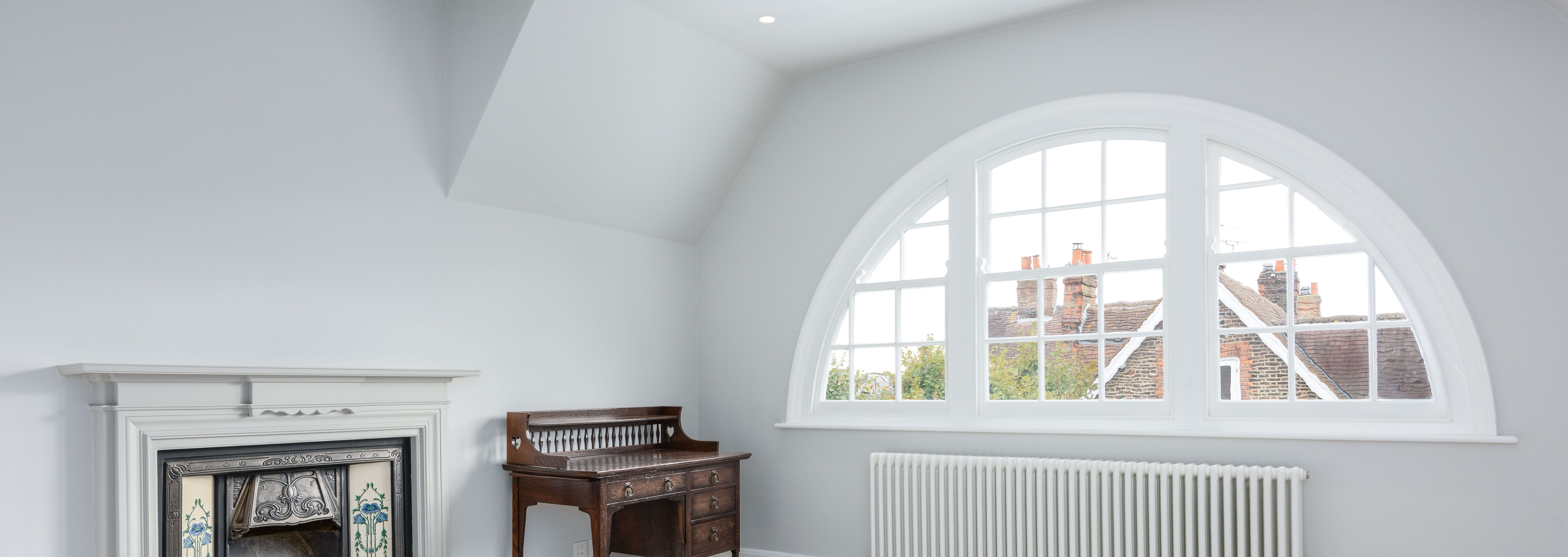 Curved double glazed sash window