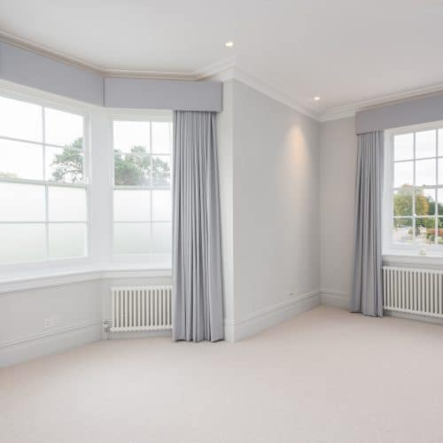 Traditional sash windows with opaque glass
