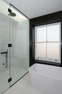 Sash window in bathroom