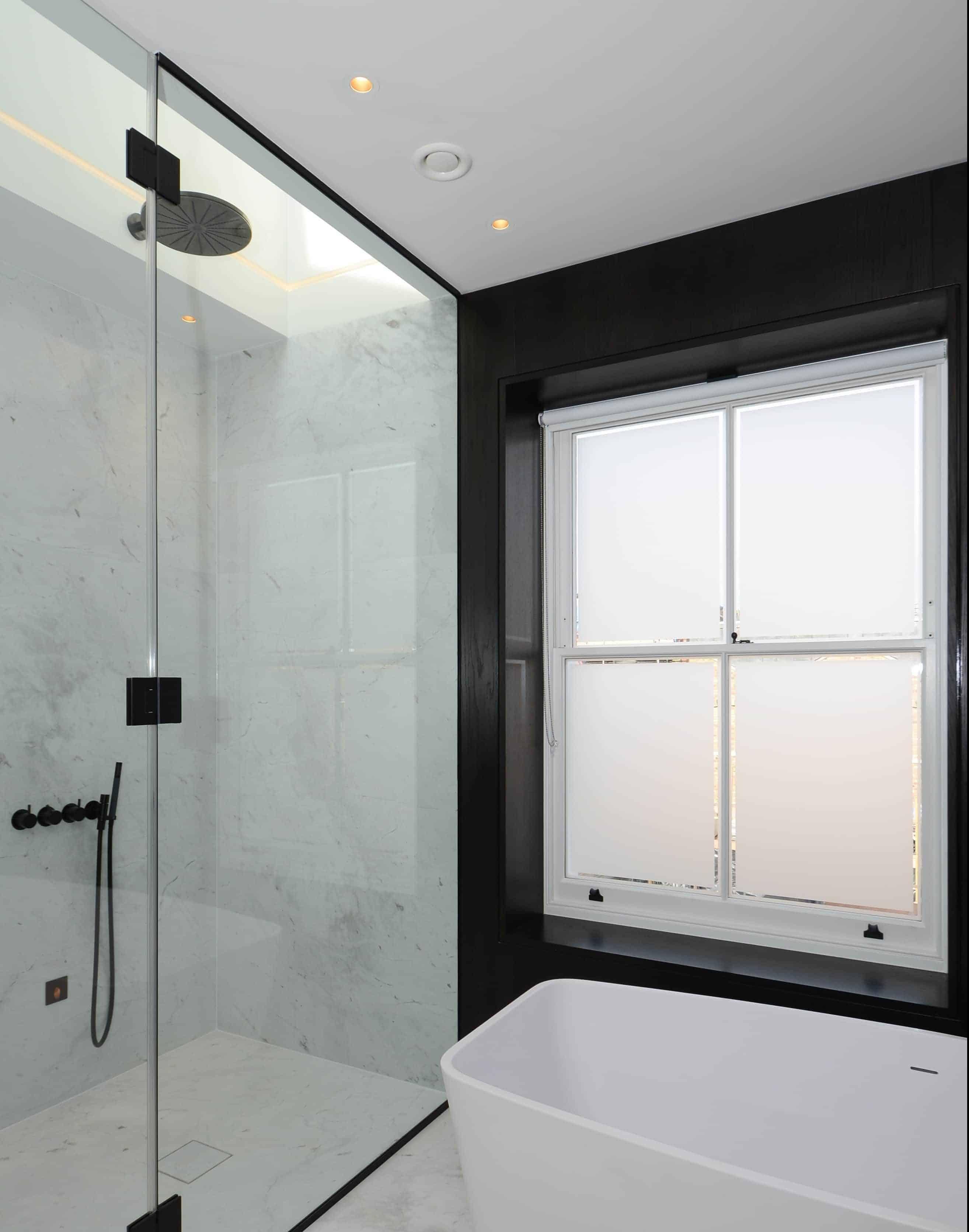 Sash window in bathroom
