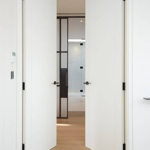 Flush timber double fire doors