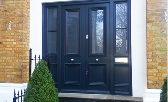 Double front door with side panels